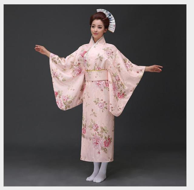 Vintage Japanese Sain Yukata With Obi Traditional Kimono Haori Novelty Party  Prom Dress Animation Costume Floral One Size 595dbacd246a