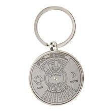 Keychain key ring metal Perpetual Calendar pattern