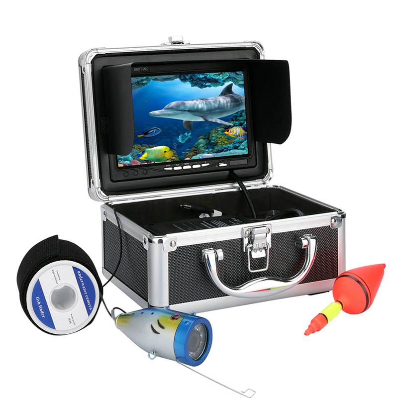 15M 12-LED 7 inch LCD Display Colorful Lights 1000tvl Underwater HD Monitor Fish Finder Fishing Video Camera Equitment BHU2 7 lcd monitor hd 1000tvl waterproof 100m cable rechargeable battery fish finder underwater fishing video camera with led