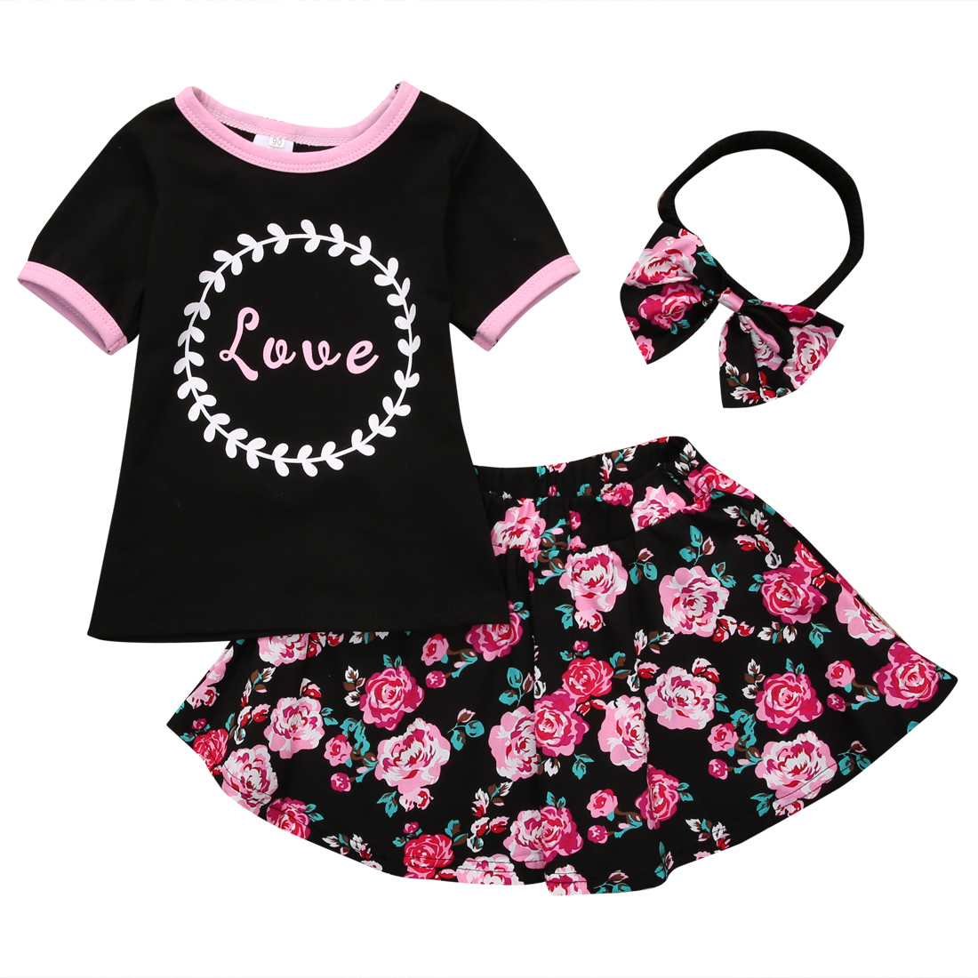 3 pc Set Baby Girl Clothes Set Bowknot Headband + Letter Print T-shirt Tops + Flower Dress Skirt Pants Outfits цена 2017