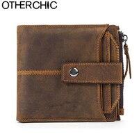 OTHERCHIC Genuine Crazy Horse Cowhide Leather Men Wallet Short Card Holder Small Vintage Wallet Brand Designer