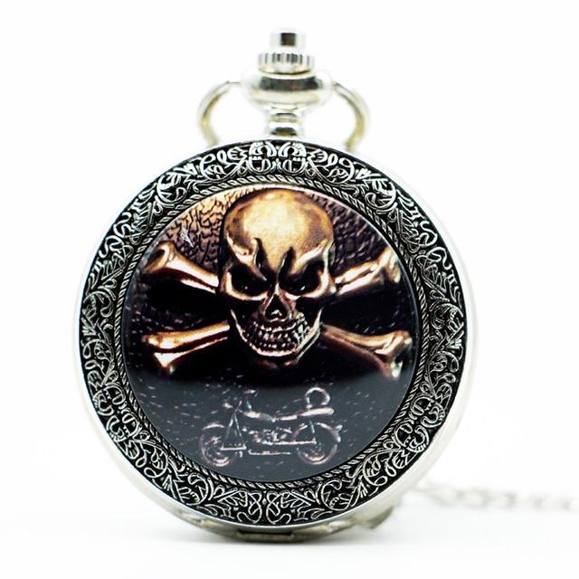 Vintage silver Ghost Rider skull Quartz pocket watch With necklace Men Women Wat