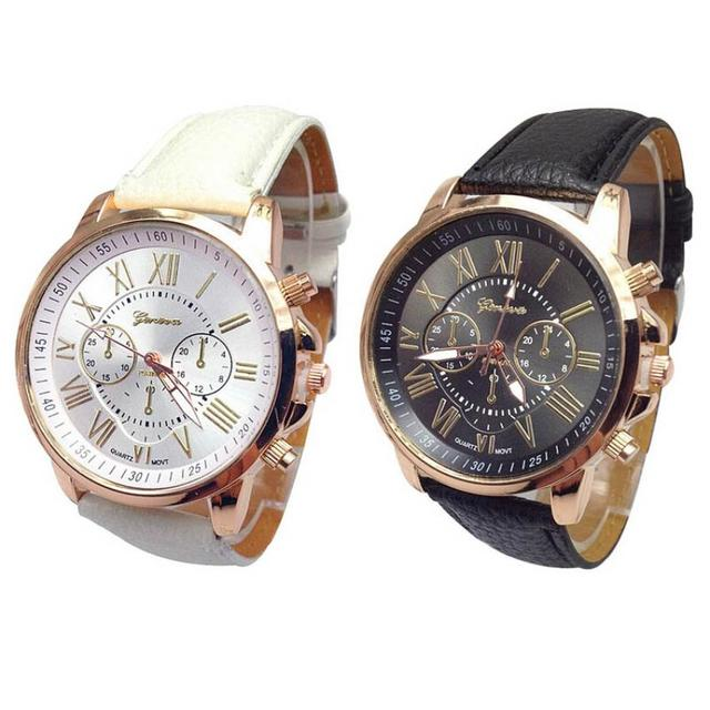 Xiniu Watch 2pcs Numerals Leather Black White Casual Couples watches Analog Quar