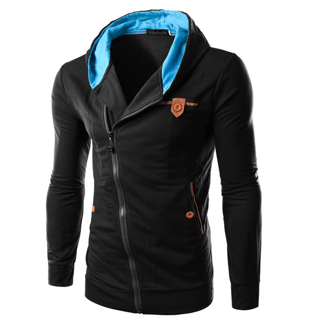 2016 Mens Spring Fashion Slim Hooded Personality Oblique Zipper Design Solid Color Coat Mens Hoodie Sweatshirt Sportswear BW1815