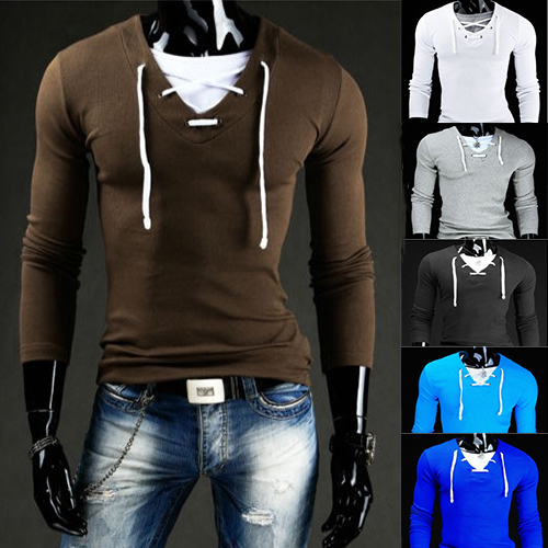 79c0df11442 Men s T shirts full sleeves V neck collar wire design cloth sticking casual  fashion long sleeves T shirts slim popular style-in T-Shirts from Men s  Clothing ...