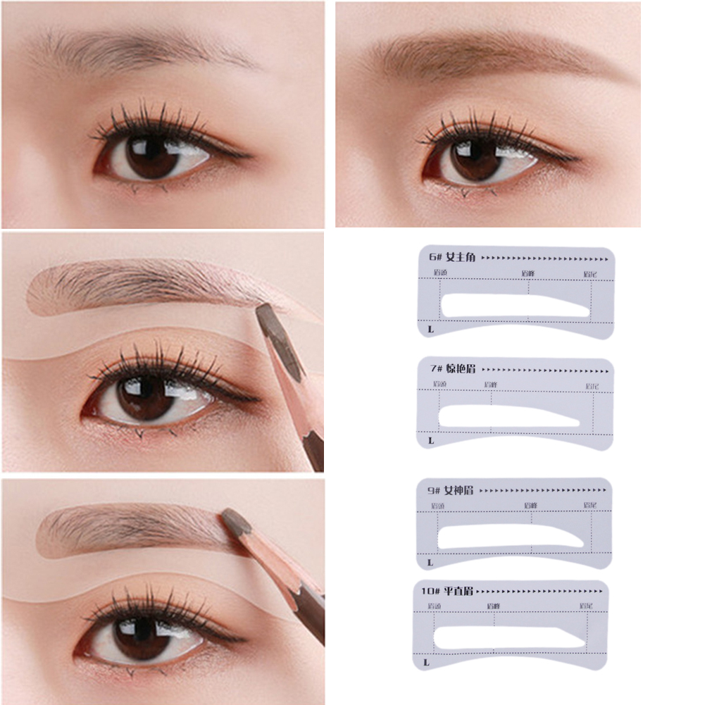 64pcs reusable grooming eyebrow stencil eye brow drawing for Eyebrow templates printable