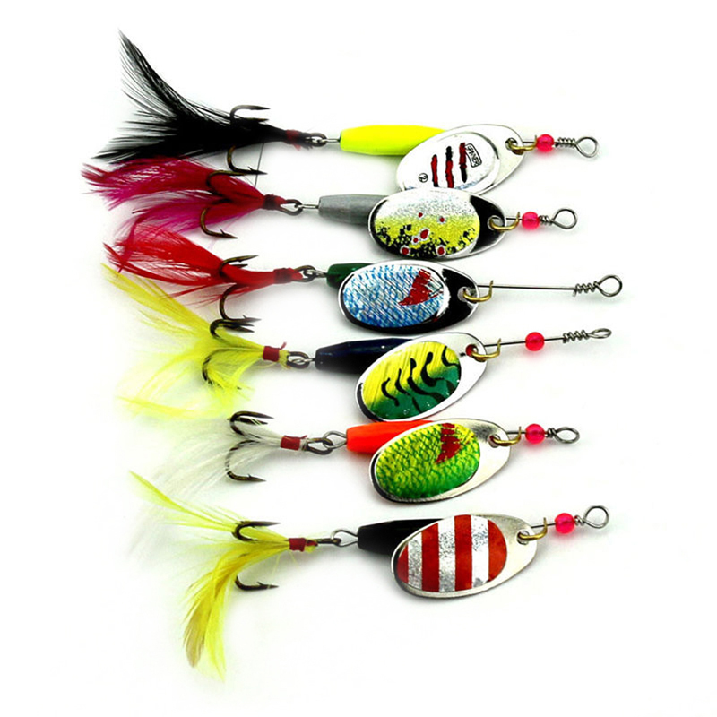 New 6pcs/set 7.71g Metal Spoon Sequins Artificial Combo Fishing Lures Hooks Spinner Baits CrankBait Bass Tackle Hook Set