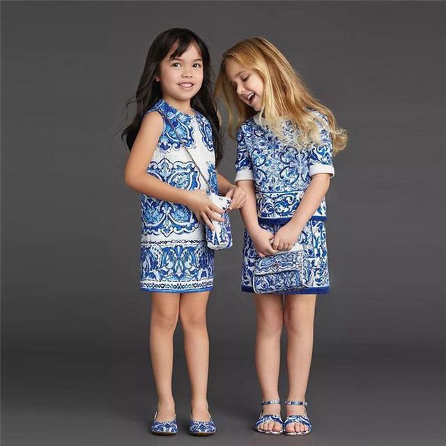 BS # S Nueva Niñas Porcelana Azul y Blanca Sin Mangas Cabritos Del Vestido Vestidos de Fiesta de Verano Vestido Del Delantal para 2-8 Año