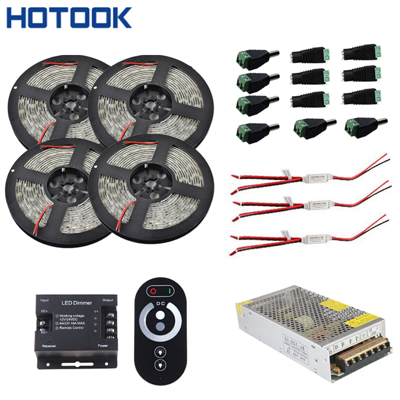 5m 10m 15m 20m Led Strip Vattentät 5050 300 LED IP65 band Röd Grön Blå Vit + RF Touch Dimmer Controller + Power Adapter Kit
