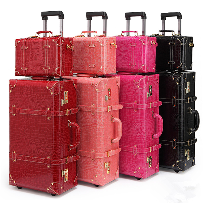 Vintage pu leather travel luggage,13 22 24korea retro trolley luggage bags on universal wheels,bride wedding red suitcase box