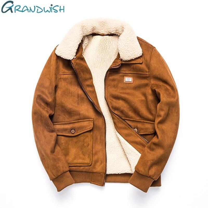Grandwish Thicken Winter Fleece Jacket Coat Men Turn down Collar Velvet Jacket Men Fur Collar Men