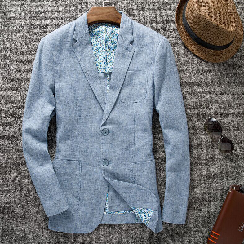 高品質新秋アウターファッションスーツカジュアルスリムリネンスーツブレザー男性のジャケットブループラスサイズ ML XL XXL 3XL 4XL  グループ上の メンズ服 からの ブレザー の中 1