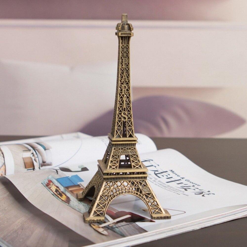 Antiqued Bronze Color Unique Gifts 10cm Metal Art Crafts Paris Eiffel Tower Model Figurine Statue Travel Souvenirs Home Decor