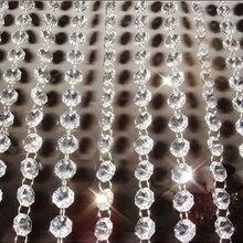 33ft гирлянда подвесная безопасная акриловое Хрустальное стекло прядь из бисера занавес цепи, украшенные бриллиантами вечерние дерево Xms орнамент