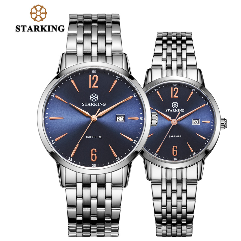 STARKING New Fashion Valentine Gift Watch For Men And Women Full Stainless Steel Quartz Business Watch Dress Couple Watch Pair antique retro bronze car truck pattern quartz pocket watch necklace pendant gift with chain for men and women gift