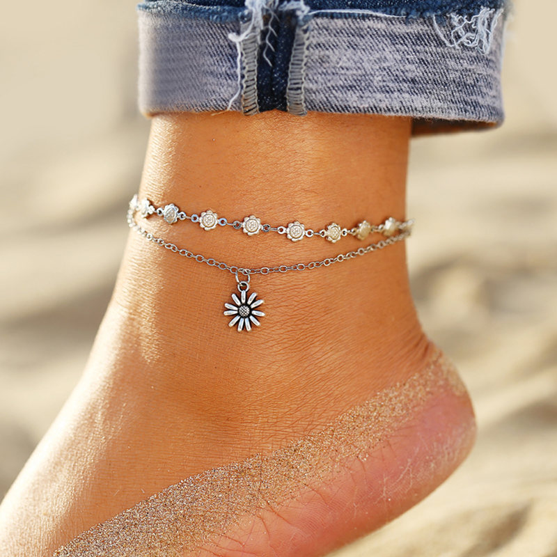IF ME BOHO Multilayers Animal Anklets for Women Vintage Silver Color Turtle Shell Beach Ankle Bracelet on Foot Fashion Jewelry 3