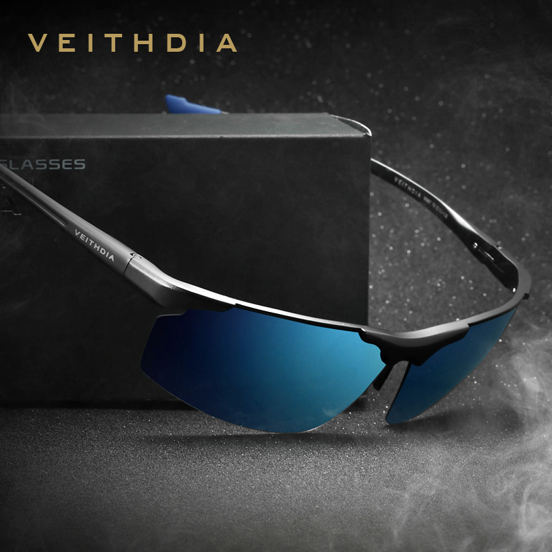 Aluminium Magnesium Rimless pria Sunglasses Polarized UV400 Sun Glasses Eyewear Accessories Untuk Pria Blue Coating Mirror 6587