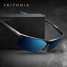 Lunettes de soleil polarisées UV400 pour hommes, en aluminium, magnésium, verres de soleil sans bords, accessoires lunettes, revêtement bleu miroir, 6587