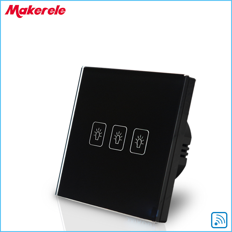 Remote Control Wall Switch EU Standard Remote Touch Switch Black Crystal Glass Panel 3 Gang 1 way  with LED Indicator eu uk standard sesoo remote control switch 3 gang 1 way crystal glass switch panel wall light touch switch led blue indicator