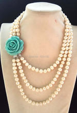 3rows freshwater pearl white near round 8 9mm 17 20inch necklace green flower clasp wholesale bead