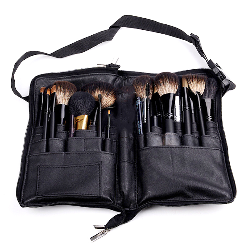 Us 15 83 28 Off New Black Two Arrays Makeup Brush Holder Professional A Bag Artist Belt Strap Portable Make Up Cosmetic In Eye
