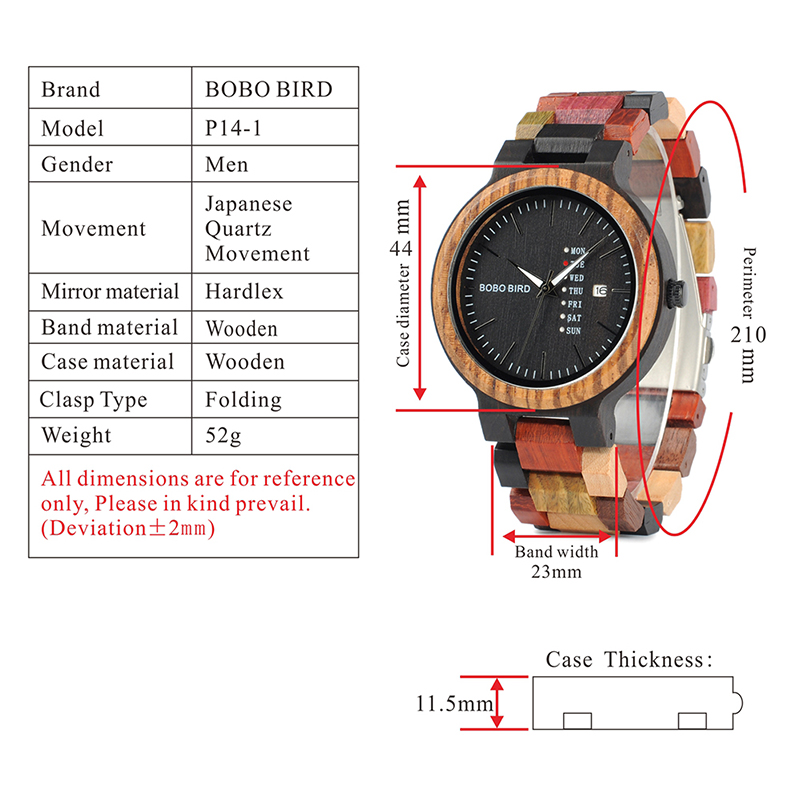 BOBO BIRD Luxury Design Auto Date Handmade Wooden Watch for Men 8