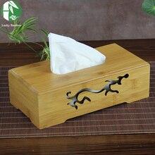 8 tipos de cubierta de caja del tejido cajas de pañuelos de bambú natural con tallas de almacenamiento nuevo creativo sostenedor de la servilleta toalla de papel de madera de la vendimia