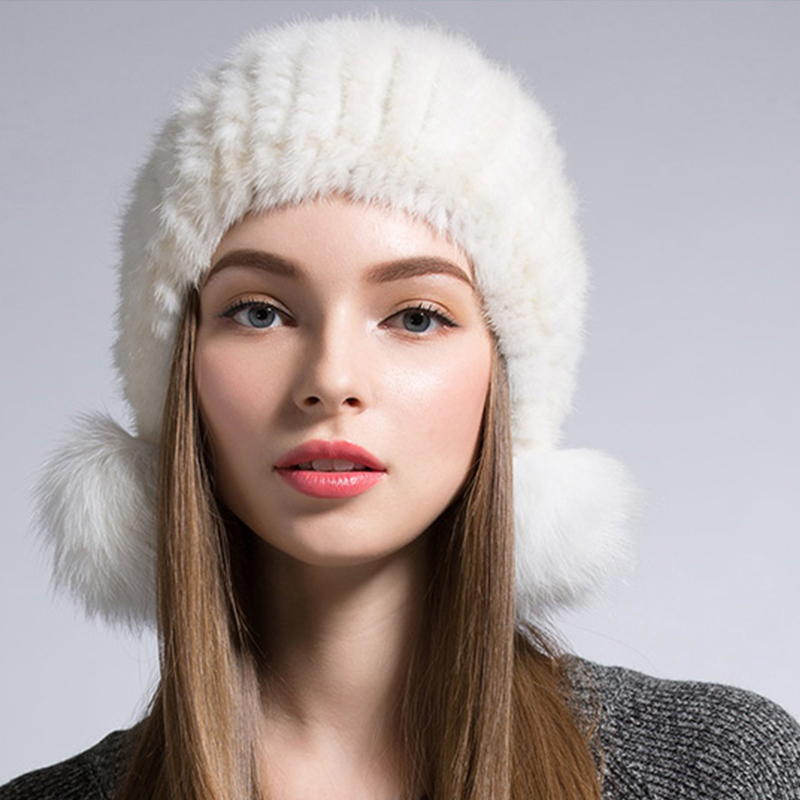 ФОТО Female Cap Mink Fur Women's Winter Hats With Natural Real Fur Ushanka Knitted Cap Pineapple Hat Hold Ears Mink Fur Hat For Women