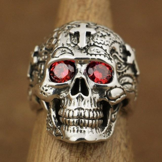LINSION 925 Sterling Silver High Detail Skull Cross Red CZ Eyes Mens Biker Ring TA58 US Size 7~15