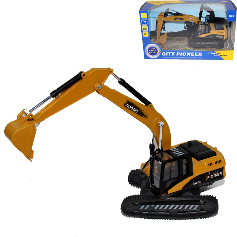 1:50 Alloy Plastic Excavator with Light Music Model toy Rubber Track Excavator Kids toy boy Christmas gift wholesale