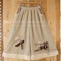 Japonês Doce Casuais Solta das Mulheres Camada de Renda Do Vintage Culottes Fluido Cor Sólida Calças Perna Larga Fêmea Lolita Mori Menina D139
