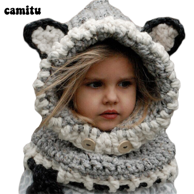 CAMITU Winter Toddler Infant Knitted Baby Hat Rabbit Long Ear Hat Baby Bunny Beanie Cap Photo Props 1797