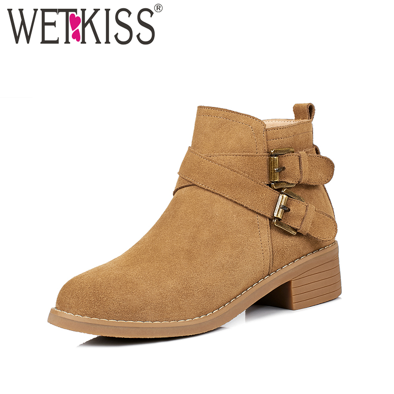 WETKISS 2018 Fashion Spring Women Ankle Boots Zipper Suqare High Heel Footwear Round Toe Autumn Cow Suede Ladies Shoes Big Size nemaone 2018 women ankle boots square high heel pointed toe zipper fashion all match spring and autumn ladies boots