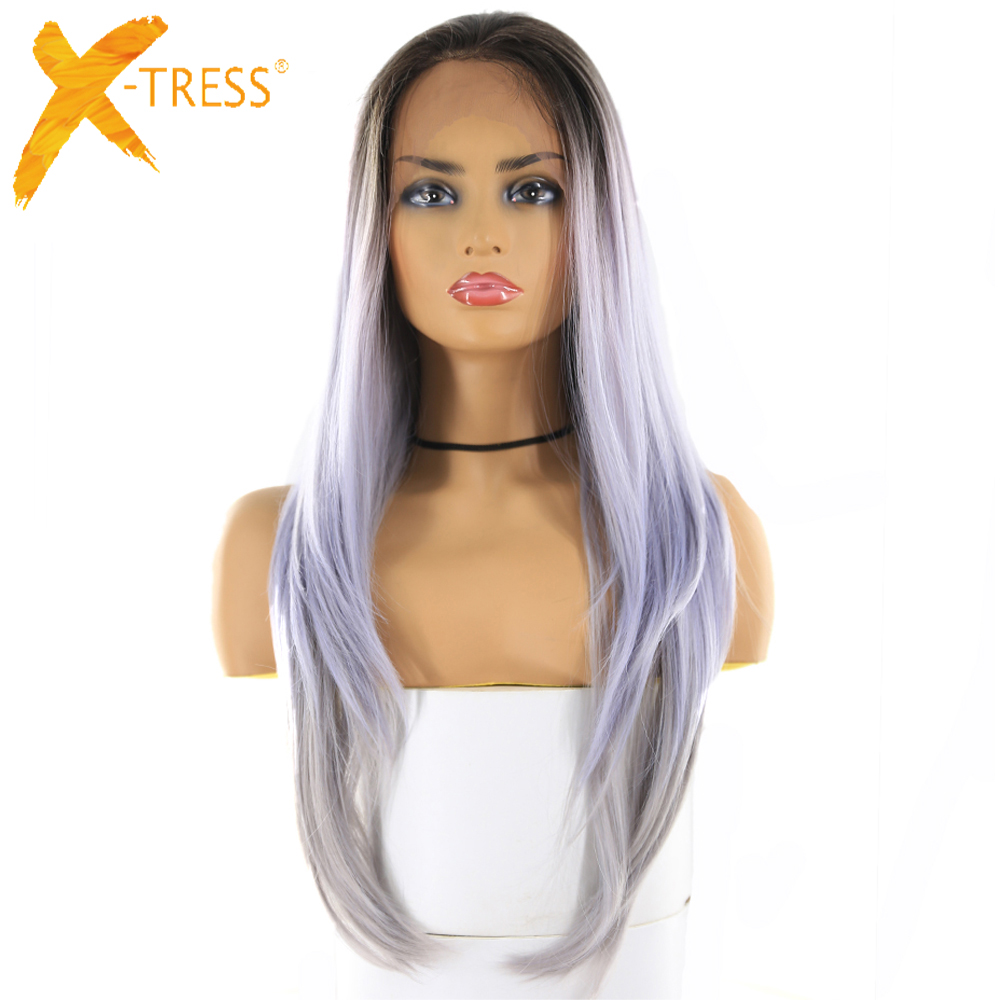 Light Purple Synthetic Hair Lace Frontal Wigs For Women Long Straight Lace Front Ombre Color Hair Wig Free Part With Baby Hair