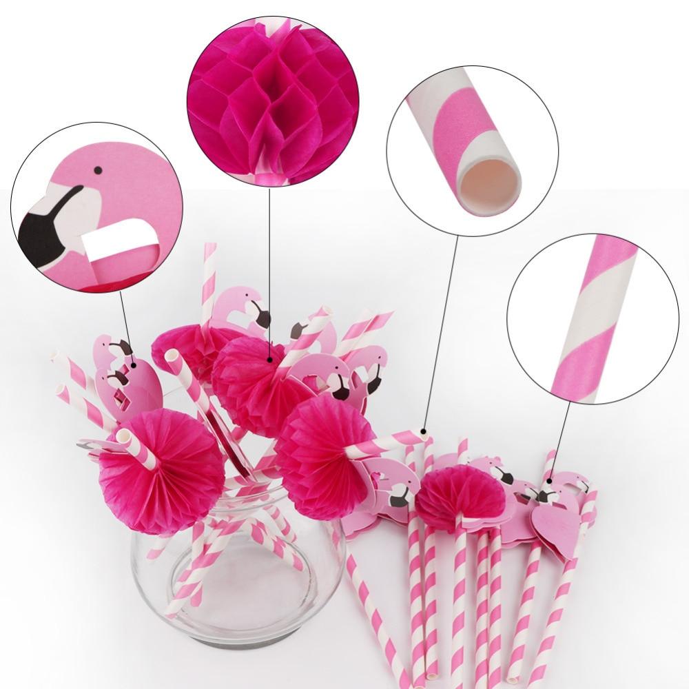 10pcs/lot Striped Flamingo Paper Drinking Straws Funny Birthday ...