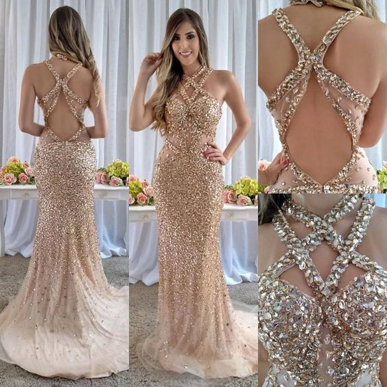 New Bling Bling Long Prom Dresses 2019 Halter Sleeveless Crystal Beaded Tulle Mermaid Evening Dress Formal Gowns Robe de soriee