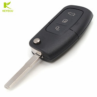 KEYECU 3 Button Flip Remote Key Fob 433MHz 4D63 80Bit Chip For Ford Focus Mondeo Fusion