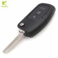 KEYECU 3 Pulsante Flip Remote Key Fob 433 MHz 80Bit 4D63 Chip per Ford Focus Mondeo Fusion Fiesta Galaxy Transit