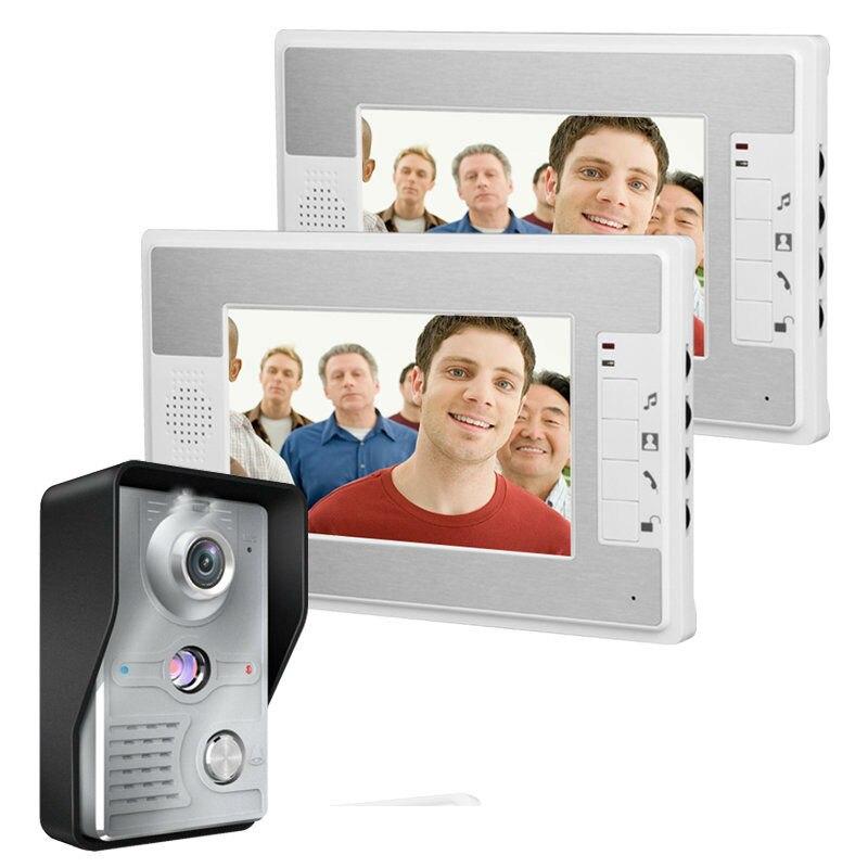 freeship  7 Inch Video Door Phone Doorbell Intercom Kit 1-camera 2-monitor Night Vision Video Doorphone 4-Wires Video Intercom