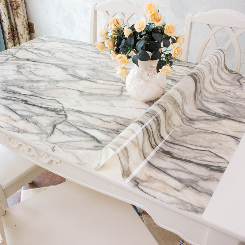 New PVC opaque Table mats Marble tablecloth Waterproof crystal sheet Color soft glass printing Coffee table cloth cover