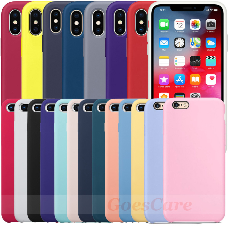 Have LOGO Original Silicone Case For iPhone 7 8 Phone Case For iPhone X XR XS Max Official Cover For iPhone 6 6S Plus 5 5S Capa(China)