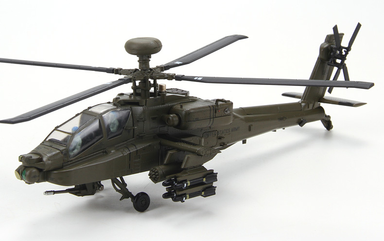 YJ 1/72 Scale Helicopter Model Toys AH-64D Apache Diecast Metal Plane Model Toy for Gift/Collection/Decoration