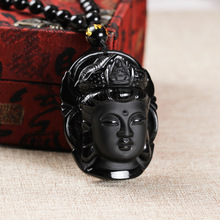 2019 Natural Stone Obsidian Guanyin Buddha Pendant Necklace Lucky Amulet Bead Chain Necklace For Woman Men недорого