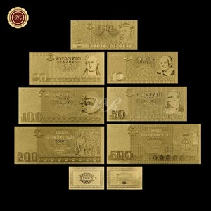 Gold Banknote 1985 Year Full Set Germany 5,10,20,50,100,200,500 Metal Pure Gold Plated Banknote for Collection Gifts