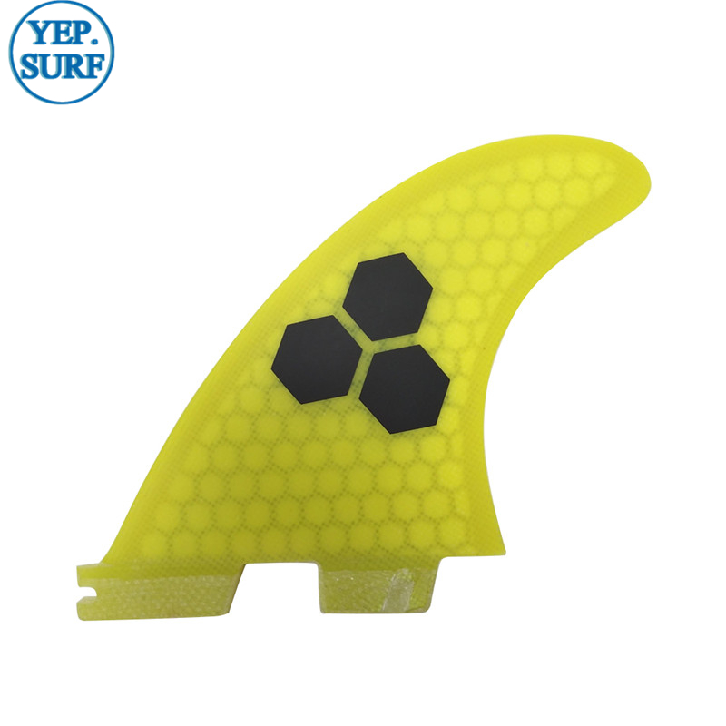 Surfboard FCS2 G5 fins Yellow color Honeycomb Fibreglass fin Tri fin set in Surfing from Sports Entertainment