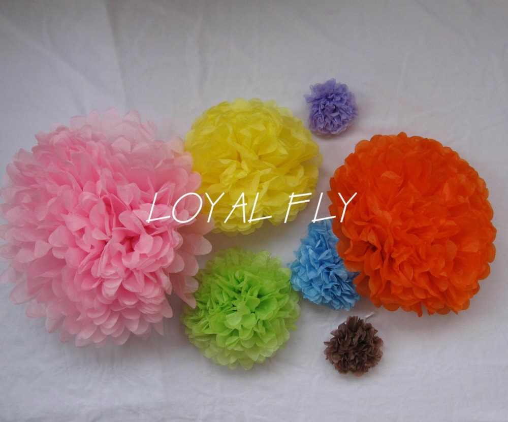 30pcs Mixed 3 size (25cm, 35cm, 50cm) Tissue Paper Pom Poms Wedding Party Decor Craft Paper Flower For Wedding Decoration