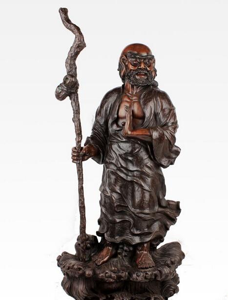 26'' China Buddhism Founder Dharma Bodhidharma Buddha Guru Monk Bronze Statue R0713