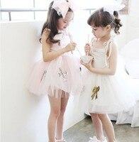 Hot Children Baby Girl Sequined Bow Sling Summer Ball Gauze Dresses Girls Party Sweet Tulle Ball