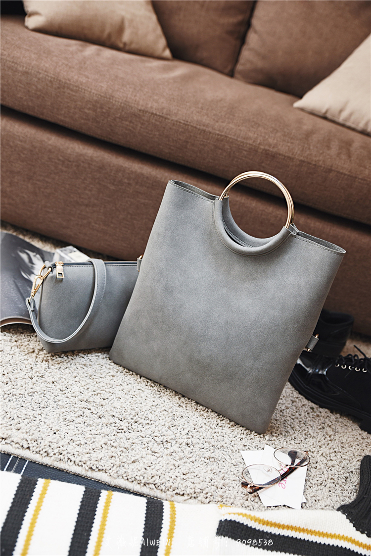 Casual Women Tote Bag 2 Pcs Set Folding Envelope Clutches Faux Suede Shoulder Bag Lady Hand Bag Black Red Shopper Handbag Purses 10
