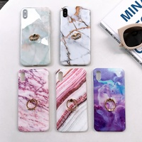 Marble Phone Case For iPhone 7 Case With Diamond 360 Phone Ring For iPhone X 7 6 6S 8 Plus Case For iPhone XS MAX XR Cover Coque